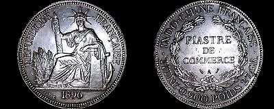 1896-A French Indo-China 1 Piastre World Silver Coin - Vietnam