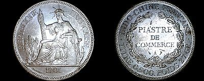 1901-A French Indo-China 1 Piastre World Silver Coin - Vietnam