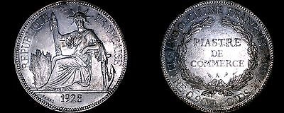 1928-A French Indo-China 1 Piastre World Silver Coin - Vietnam