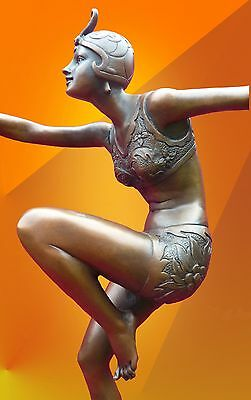 Art Deco Bronze Con Brio Bronze Statue Light Patina Dancer Figurine Figure