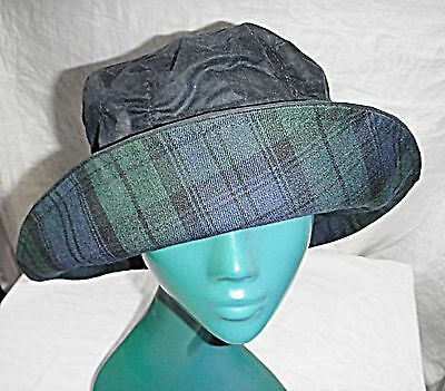 Country Racing 20S Style Charcoal Grey Waxed Cloches Hat Souwester Chic Comfy L