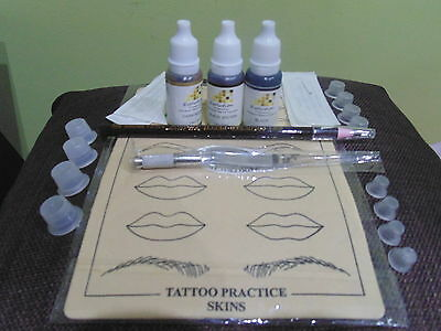 MICROBLADING 28 PIECE KIT 3 x INKS Eyebrow/Liner Semi Permanent Makeup SPMU 3D