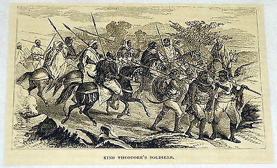 1880 magazine engraving ~ THEODORE ENRAGED, King of Abyssinia, Ethiopia