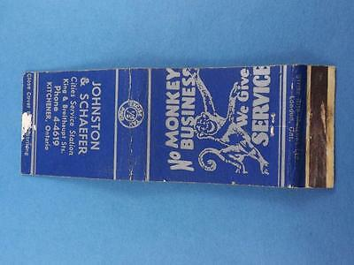Johnston Schaefer Cities Service Station Kitchener Matchbook Canada Tax Stamp