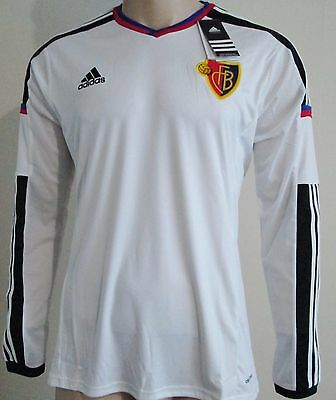 Men FC Basel player issue long sleeves away football shirt size S Adidas BNWT
