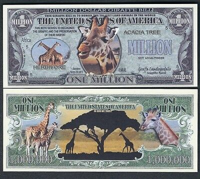 Lot of 25 BILLS -GIRAFFE PRESERVATION MILLION DOLLAR NOTE