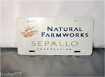 Advertising License Plate, Natural Farmworks, SEPALLO CORPORATION, tin plate