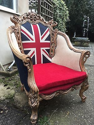 Rocco  Style French Armchair Chair Re-upholstered One Of A Kind !!