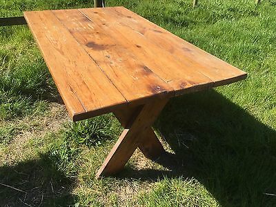 """Solid Pine  Refectory Style Dining Kitchen Table Plank Top 1 1/2"""" Thick Top"""