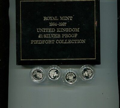 Great Britain 1984 - 1987 Silver Proof 1 Pound Piedfort 4 Coin Set 7548J