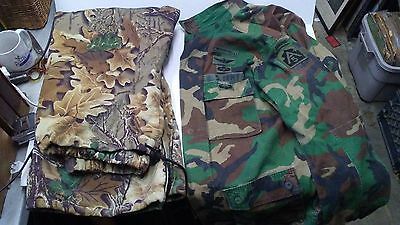 Lot of FOUR CAMOUFLAGE Pants Shirt HUNTING Woodland BDU UNIFORM GORETEX RANGER