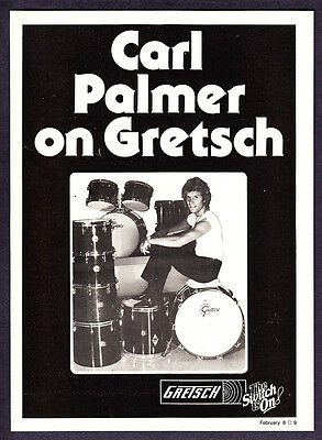 1979 Drummer Carl Palmer of ELP photo on Gretsch Drums vintage promo print ad
