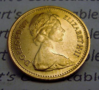1971 UNCIRCULATED ONE NEW PENCE COIN (1p) TAKEN from COIN SET
