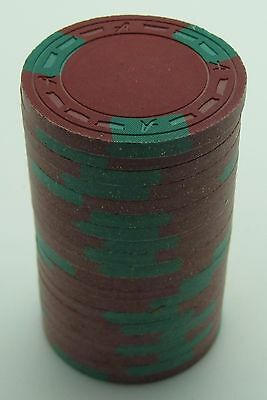 """Set of 20 ASM Casino Style """"A"""" Mold Clay Chips Dk-Red/Green Inserts FREE SHIP"""