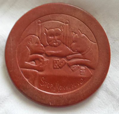 "Vintage Clay Composite Red ""Stop Monkeying"" Poker Chip - Cat, Dog & Monkey"