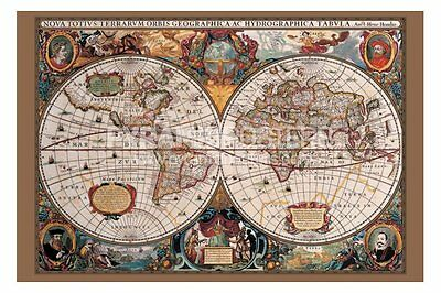 17th CENTURY MAP OF THE WORLD- POSTER
