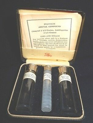 Vintage Original Eli Lilly Pulvules Amytal Compound 3 Labeled Tubes In Case