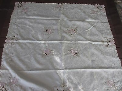 Beautiful  Flower  EMBROIDERED & cutout design Tablecloth 89cms x 87 cms