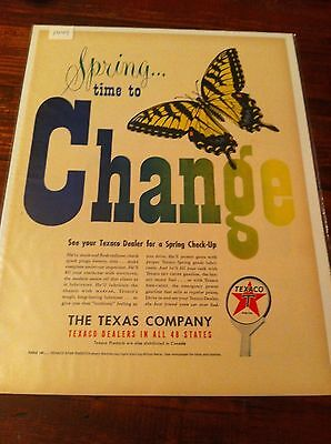 Vintage 1949 Texaco Spring Time To Change Butterfly Oil Gas Print ad