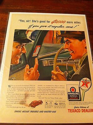 Vintage 1944 Texaco She's Good For 40,000 More Miles With Regular Care Print ad