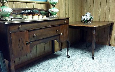 Antique Queen Anne style mirrored vintage buffet/server/sideboard & dining table