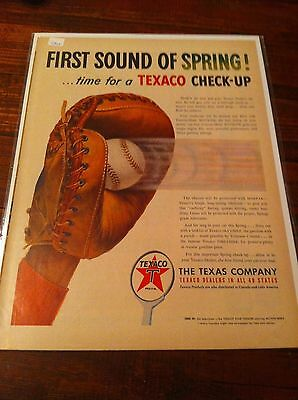 Vintage 1951 Texaco First Sound Of Spring Baseball Catchers's Mit Print ad