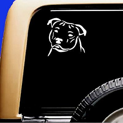 Am. Staffordshire Bull  Natural Ear Dog Car Decal Sticker - Original Design Pit