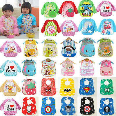 Long Sleeve Waterproof Toddler Baby Sleeveless Cartoon Feeding Apron Bib Clothes