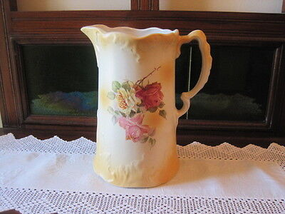 Stunning Tall Antique Victorian Roses Ceramic Jug Pitcher