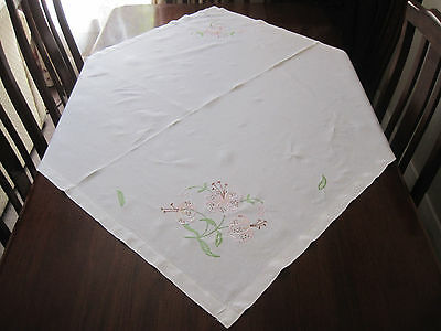 Beautiful Vintage Hand Embroidered Pink Lillies Linen Tablecloth