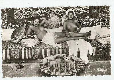 Nude moor mauresque arab women girls lounging MOROCCO real photo postcard