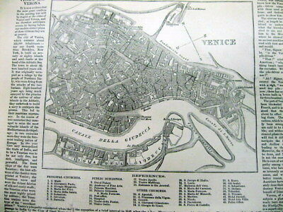 1859 newspaper ww LARGE DISPLAY MAPS of VENICE & VERONA Italy PIAZZA San Marco