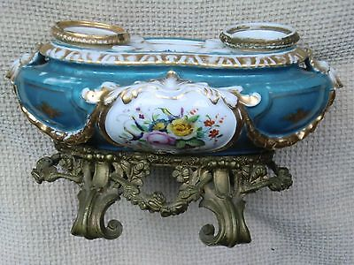 Antique French Porcelain Hand Painted Floral 19th Century Deskstand/Ormolu base