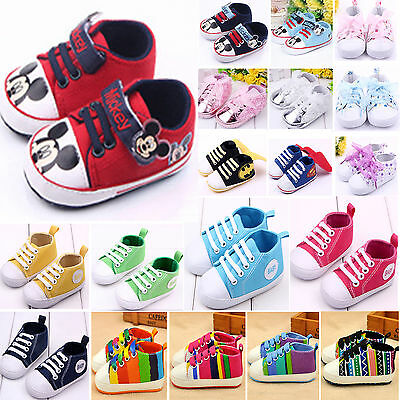 Baby Boys Girls Canvas Shoes Sneakers Toddler Casual Crib Prewalker Trainers 18M