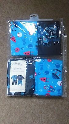 "NEW IN PACKET. PACK OF 2 ""SPACE"" PYJAMAS. 6-9, 9-12, 12-18, 18-24m"