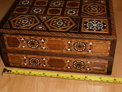 Fabulous Parquetry inlaid Chess Board Box  with Chess Set