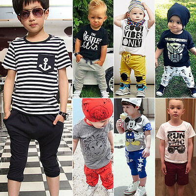 Toddler Baby 2PCS Outfits Set Summer Boys Girls T-shirt Tops Pants Clothes Suit