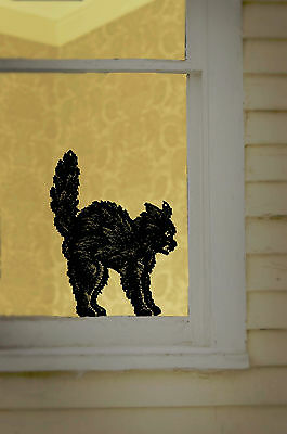 1SC-B USA Made Lace Black Scaredy Cat Accents Halloween Decoration Arched Back
