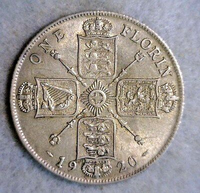 GREAT BRITAIN FLORIN 2 SHILLINGS 1920 AU SILVER COIN ( stock# 0284)