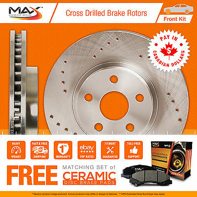 2009 2010 2011 Chevy Express 1500 Cross Drilled Rotors AND Ceramic Pads Front