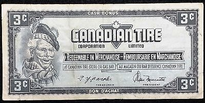 Vintage Canadian Tire 3 Cents Bill / Coupon - Free Combined Shipping