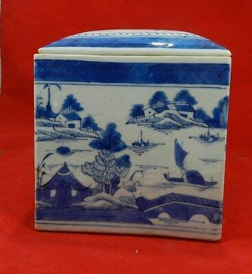 Canton Chinese Export Porcelain Blue White Canister 19th Century Quing Dynasty