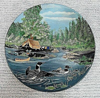 """Original Oil Painting Loons Lake Vintage Tent Camp Site Forest 9"""" Plate FREE S/H"""