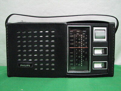 PHILIPS 90RL207 MW SW1 SW2 SHORTWAVE RADIO w CASE VINTAGE 1970 RL207 NETHERLANDS