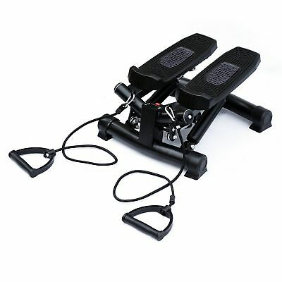 Soozier Health & Fitness Mini Stepper with Resistance Bands and Monitor Black