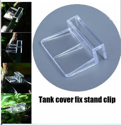 4pc Clear Aquarium Fish Tank Glass Cover Acrylic Clips Clamps Support Holders JJ