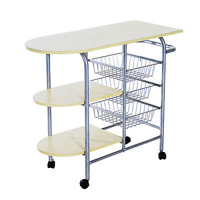 HomCom Rolling Kitchen Trolley Portable Kitchen Serving Cart with 3 Baskets
