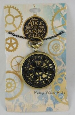 New Disney AIW Alice Through The Looking Glass Pocket Watch Pendant Necklace