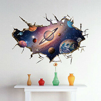 Out Space Galaxy Planet Boys Bedroom Art Vinyl 3D Wall Stickers Decal Room Decor