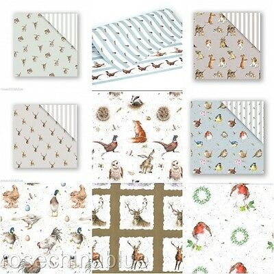 Wrendale Countryside Animal Gift Flat Wrap Wrapping Paper